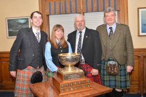 Prize winners at the 2015 Glengarry Cup, from left to right: Jacob Dicker, Andrea Boyd, Ed Bush, with judge Colin MacLellan.