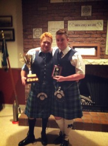 Dylan Whittemore (Winner, A Division Piping) and Matthew Page (Winner, B Division Piping) at Moss Park Armoury on March 2, 2013